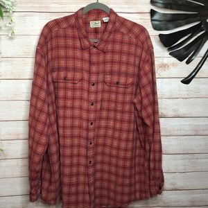 LL Bean toast orange plaid buttons down shirt XXL